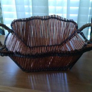 Large Scalloped Rattan Basket with Handles
